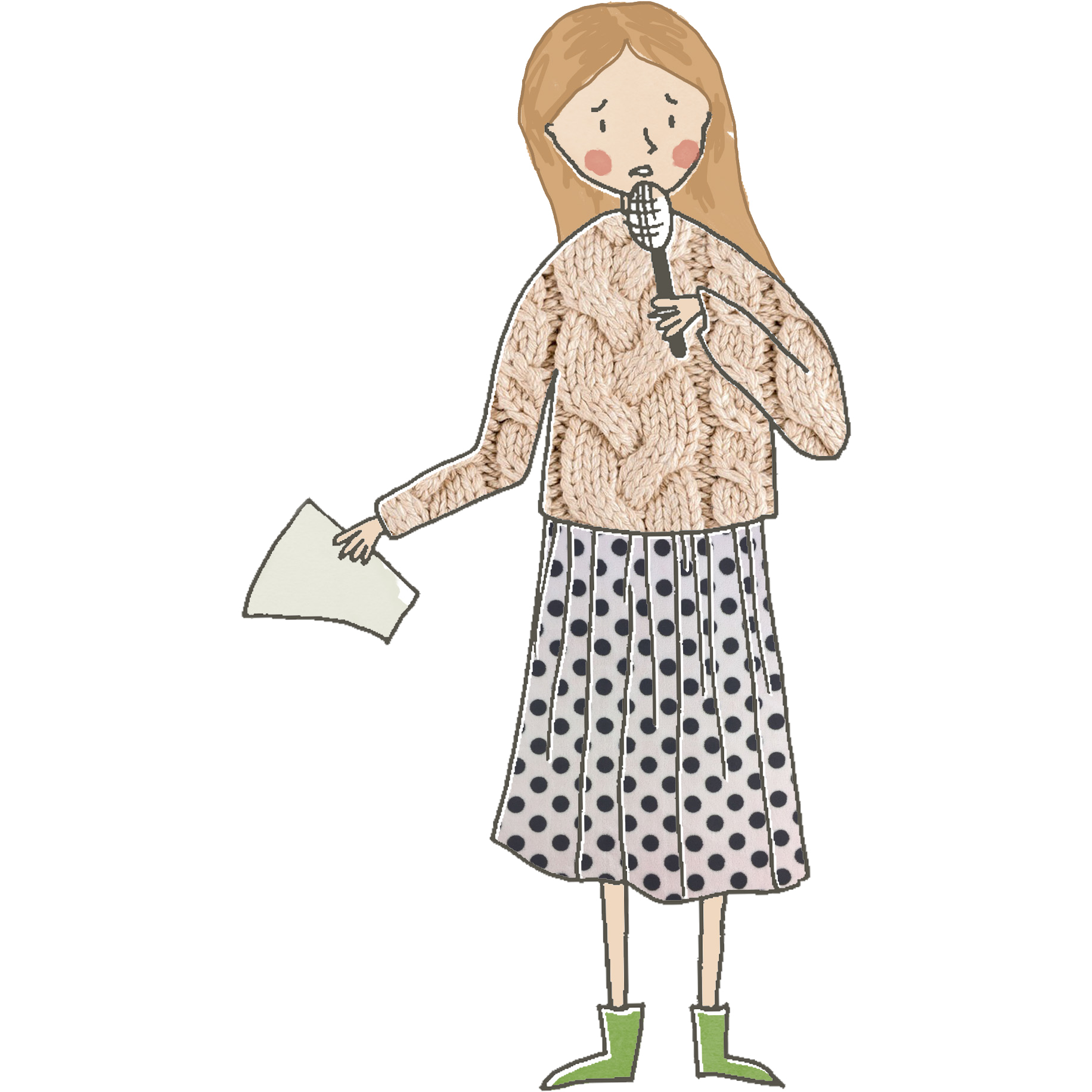 illustration of a woman in a knitted jumper, skirt and wellies holding a microphone and speaking. Image © Rebecca Frost.