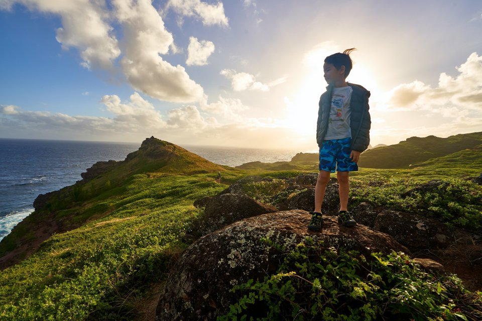 A young boy standing on a grassy cliff looking out to sea.