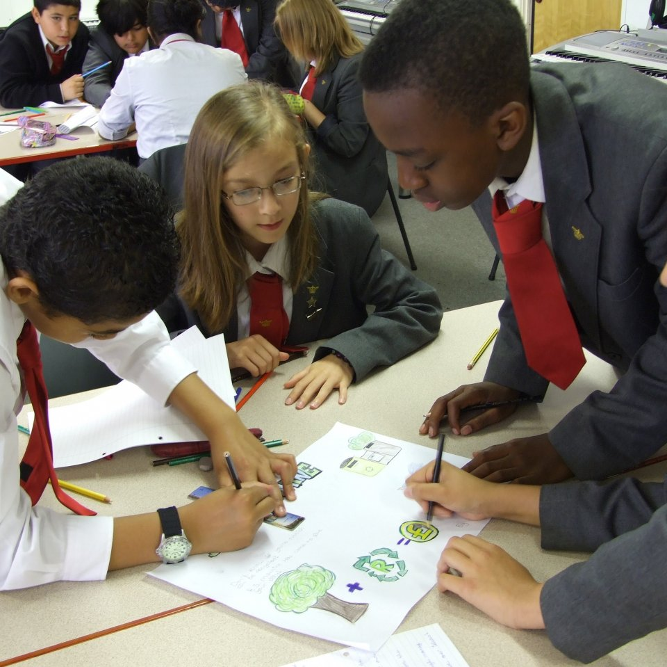 Children working on their green schools project