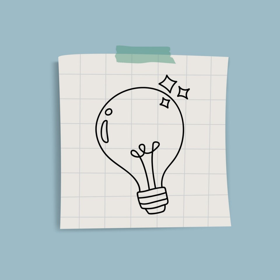 cartoon light bulb on a post it