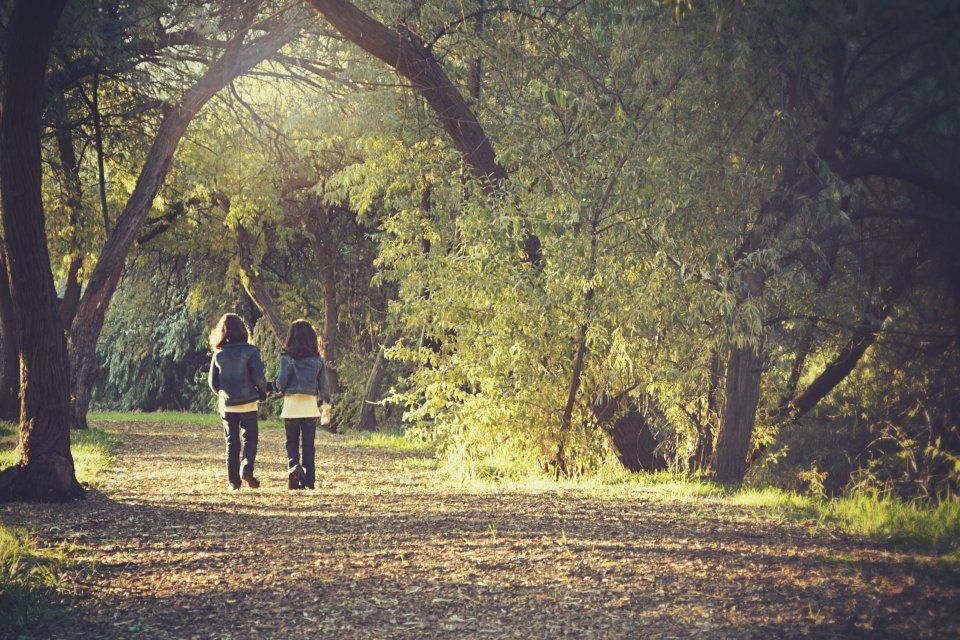 Two girls in matching clothes walking through a dappled wood